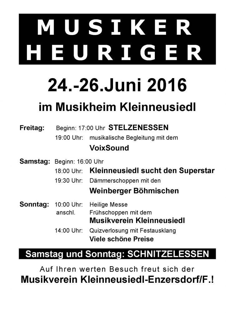 Plakat MV Kleinneusiedl Musikerheuriger 2016